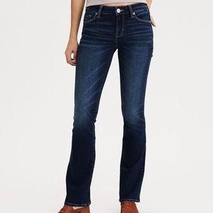 AEO Skinny Kick Bootcut Denim Dark Wash Jeans